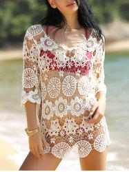 Hollow Out Crochet Swimsuit Cover-Up - WHITE