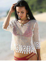 Hollow Out Lace Crochet Cover Up For Swimwear - WHITE