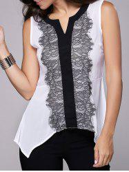 Trendy Sleeveless Lace Spliced Asymmetric Women's Tank Top