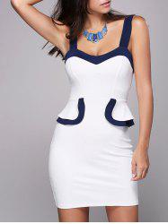 Sweetheart Neck Bodycon Mini Dress - WHITE 2XL