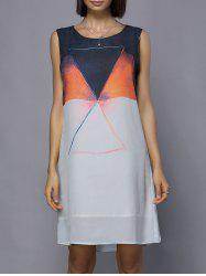 Fashionable Scoop Neck Sleeveless Color Block Dress For Women -