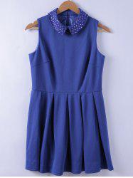 Chic Studs Embellished Turn-down Collar Blue A-line Dress For Women