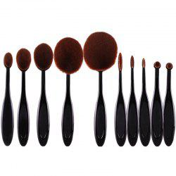 Stylish 10 Pcs Multifunction ToothBrush Shape Fiber Facial Eye Makeup Brushes Set - BLACK