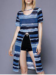 Trendy Scoop Neck Striped Slit Short Sleeve Women's Tee -