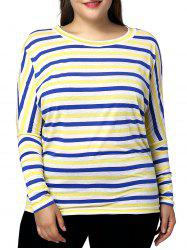 Casual Plus Size Batwing Sleeve Striped Pattern Women's T-Shirt