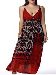 Bohemian Plus Size Spaghetti Strap Sleeveless Leopard Print Women's Dress