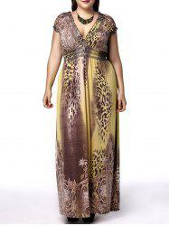 Plus Size Plunging Neck Leopard Print Maxi Dress