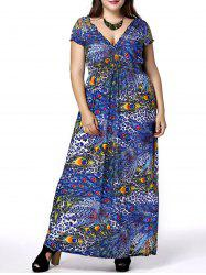 Plus Size Phoenix Tail Print Maxi Dress