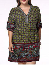 Ethnic Plus Size V Neck Floral Print Rhinestoned Women's Blouse