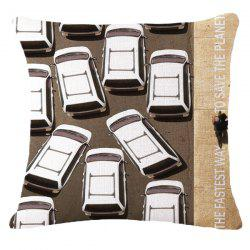 Creative Traffic Jam Warning Pattern Square Shape Flax Pillowcase (Without Pillow Inner) -