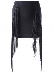 Fashionable Tassels Black Short Skirt For Women
