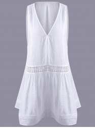 Fashionable Hollow Out Lace V-Neck Top For Women - WHITE XL