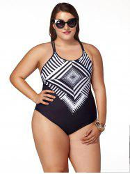 Stylish Plus Size Jewel Neck Geometric Pattern One-Piece Swimsuit For Women