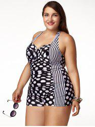 Chic Plus Size Halter Polka Dot Printed One-Piece Swimwear For Women