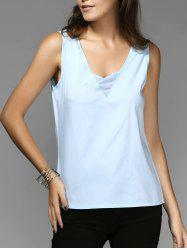 Chic V-Neck Sleeveless Spliced Chiffon Women's Tank Top