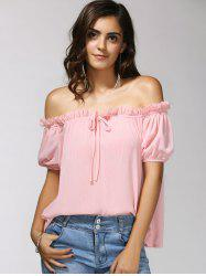 Charming Off-The-Shoulder Puff Sleeve Bowknot Women's Blouse -