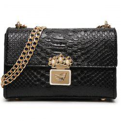 Trendy Crocodile Print and Metal Design Crossbody Bag For Women