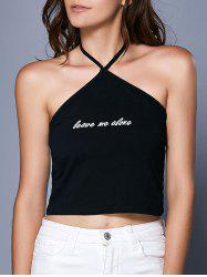 Halter Neck Letter Print Crop Tank Top