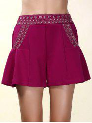Ethnic Style Elastic Waist Loose-Fitting Embroidered Shorts For Women - PURPLISH RED