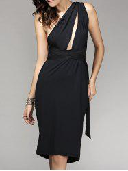 Backless One-Shoulder Multiway Wrap Cocktail Prom Fitted Dress - BLACK L