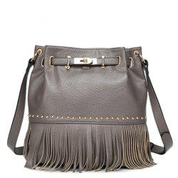 Trendy Fringe and Metal Design Crossbody Bag For Women