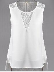 Fashionable Jewel Neck Lace Panelled Slit Top For Women - WHITE M