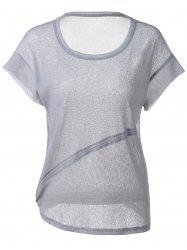 Fashionable Loose-Fitting Scoop Neck Cut-Off Rule T-shirt  For Women -