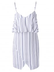 Chic Spaghetti Strap Stripe Spliced Flounce Women's Dress - WHITE