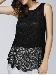 Guipure Lace Asymmetrical Lace Top - BLACK M