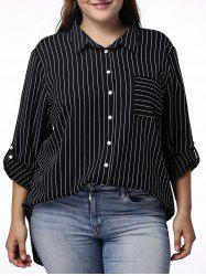 Casual 3/4 Sleeve Pinstriped Plus Size Shirt For Women -