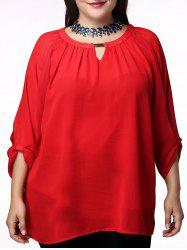 Fashionable Red Scoop Neck 3/4 Sleeve Pleated Blouse For Women