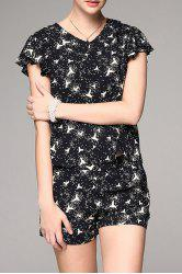 Flounce Print Top with Shorts -