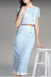 Crop Top and Lace Skirt Twinset -
