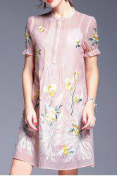 Perspective Floral Embroidery Dress and Cami Tank Top - PINK