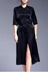 Belted Front Slit Satin Maxi Prom Dress - BLACK