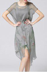 Print Camisole Dress and Asymmetrical Cover-Up -