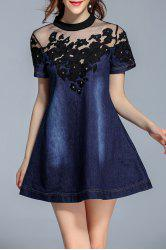 Mock Neck Embroidered Mesh Yoke Denim Dress -
