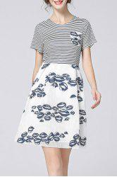 Striped Spliced Hollow Out Print Dress -