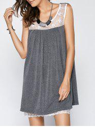 Scoop Neck Sleeveless Lace Splice Pleated Babydoll Dress - GRAY 5XL