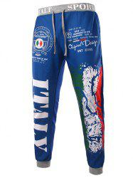 Loose Fit Stylish Lace-Up Italy National Emblem Print Beam Feet Men's Polyester Sweatpants - BLUE