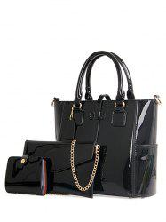 Stylish Patent Leather and Strap Design Tote Bag For Women - BLACK