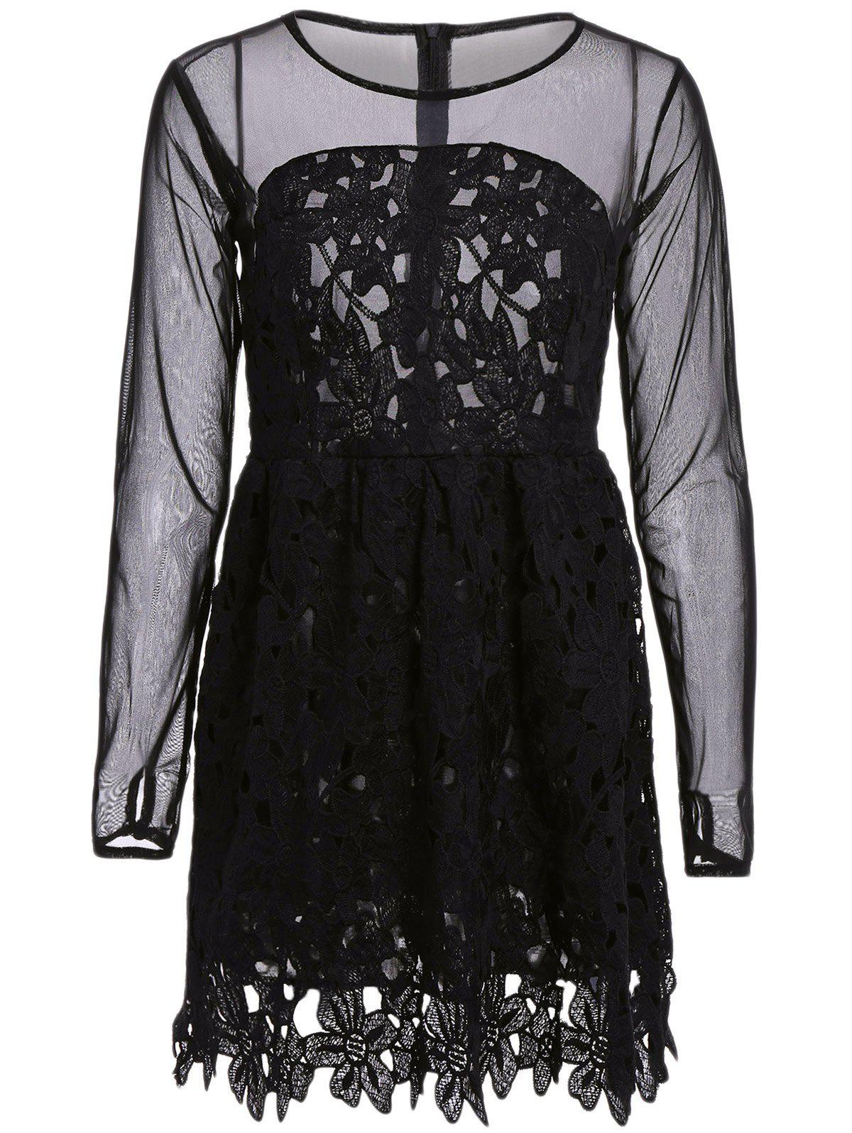 Best Stylish Round Collar Lace Floral Embroidery Long Sleeve Women's Dress