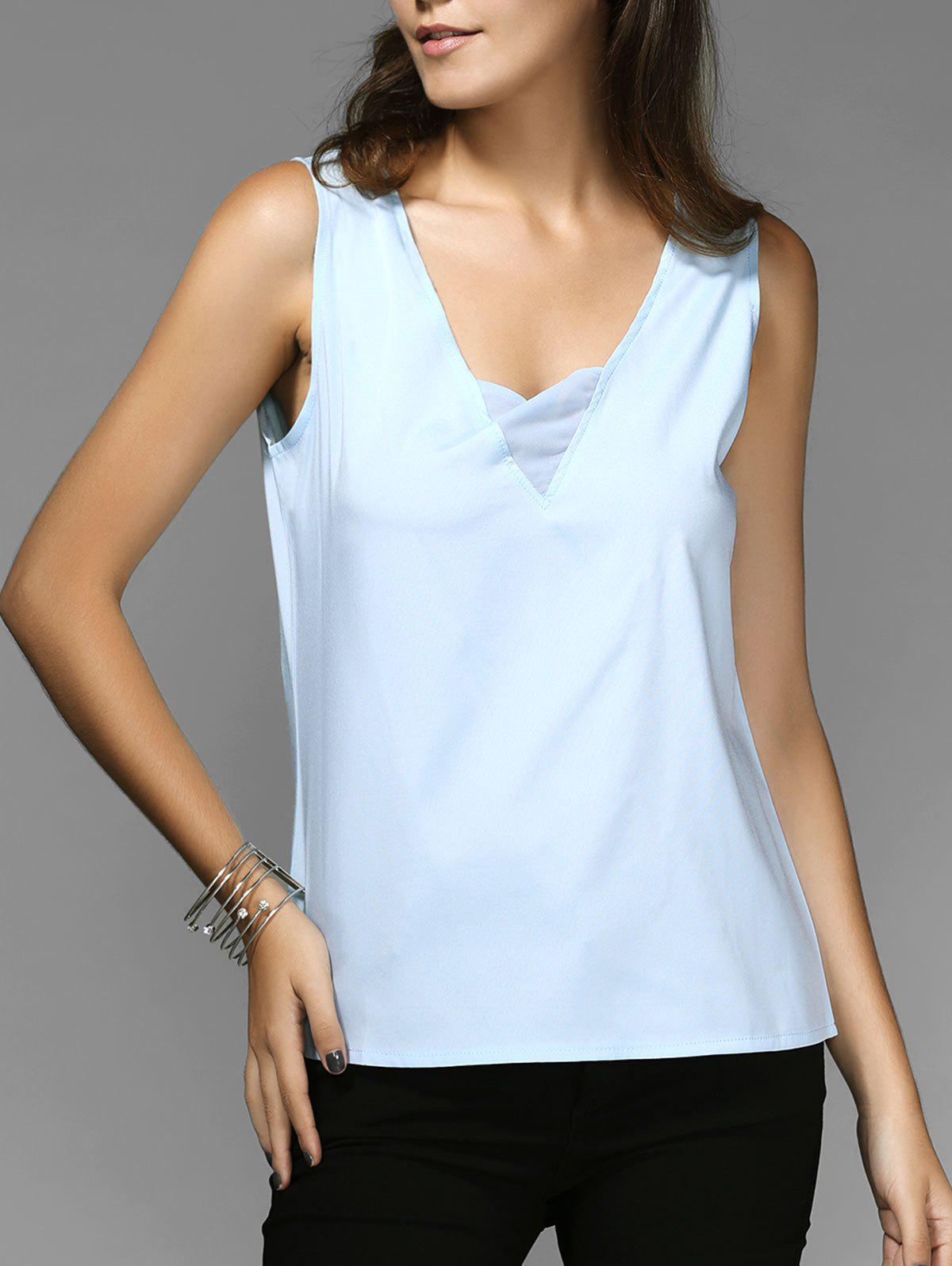 Online Chic V-Neck Sleeveless Spliced Chiffon Women's Tank Top