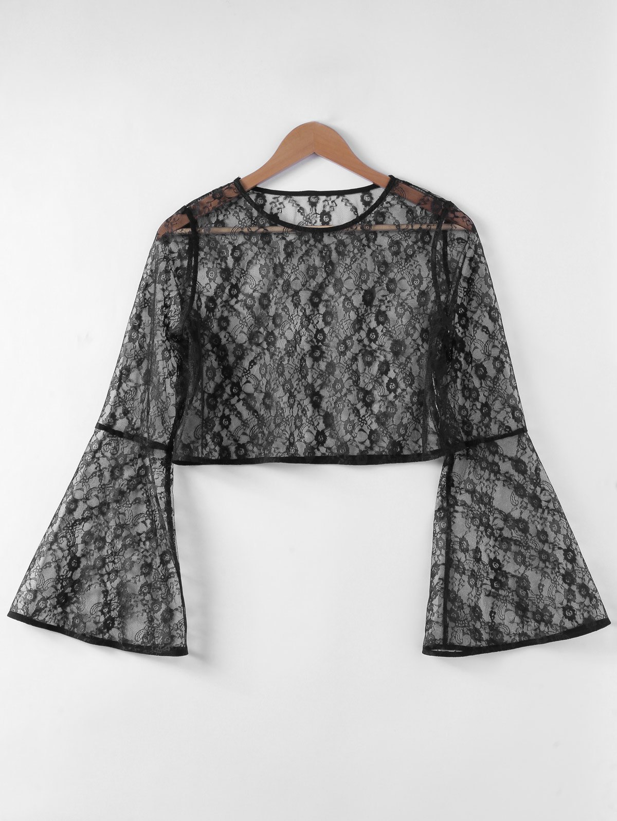 Fancy Fashionable Trumpet Sleeve Hollow Out Top For Women