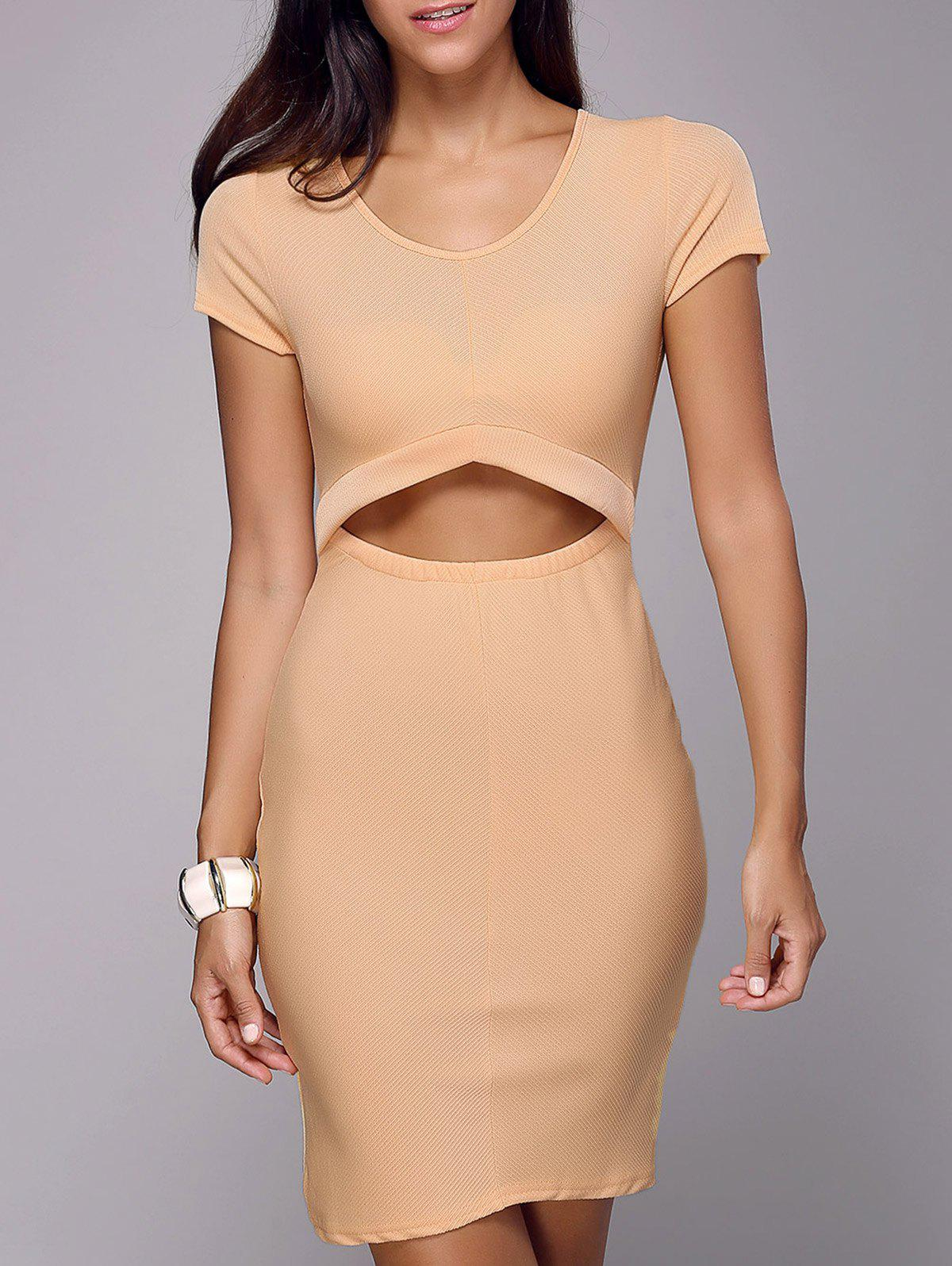 Trendy Cutout Sheath Knee Length Dress