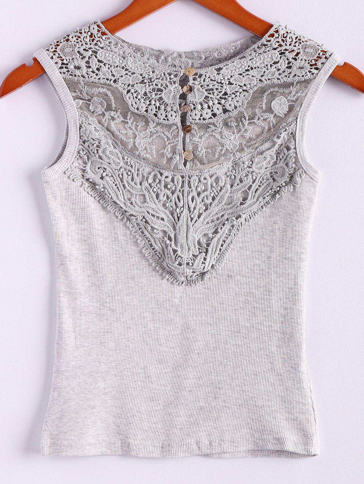 Fashion Lace Splicing Cotton Blend Scoop Neck Sleeveless Sweet Style Women's Vest