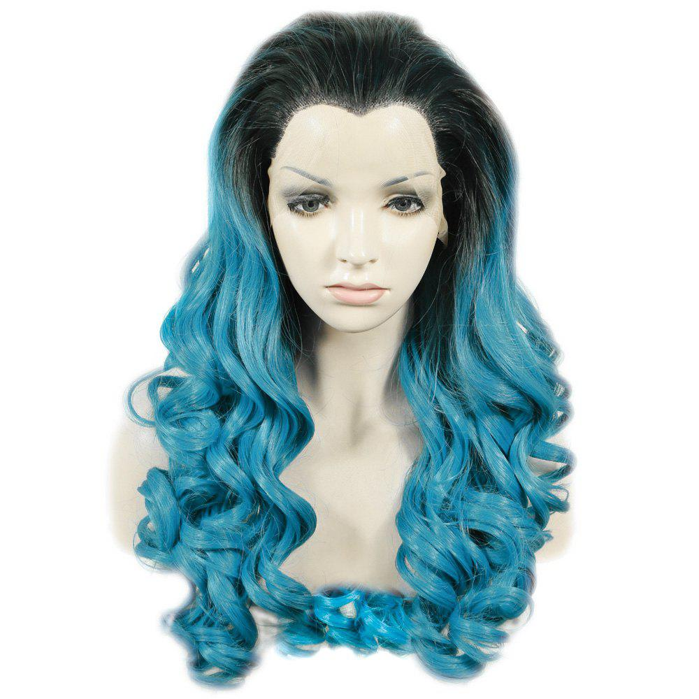Outfits Trendy Long Shaggy Wave Black Ombre Blue Synthetic Lace Front Wig For Women