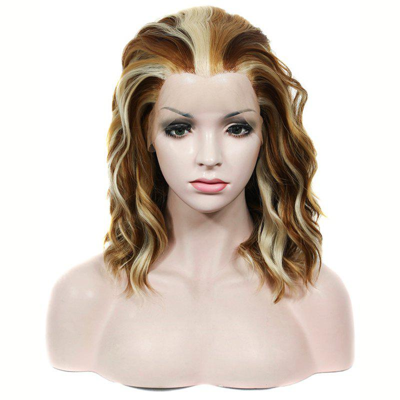 Buy Fashion Medium Lace Front Shaggy Curly Mixed Color Heat Resistant Synthetic Wig For Women