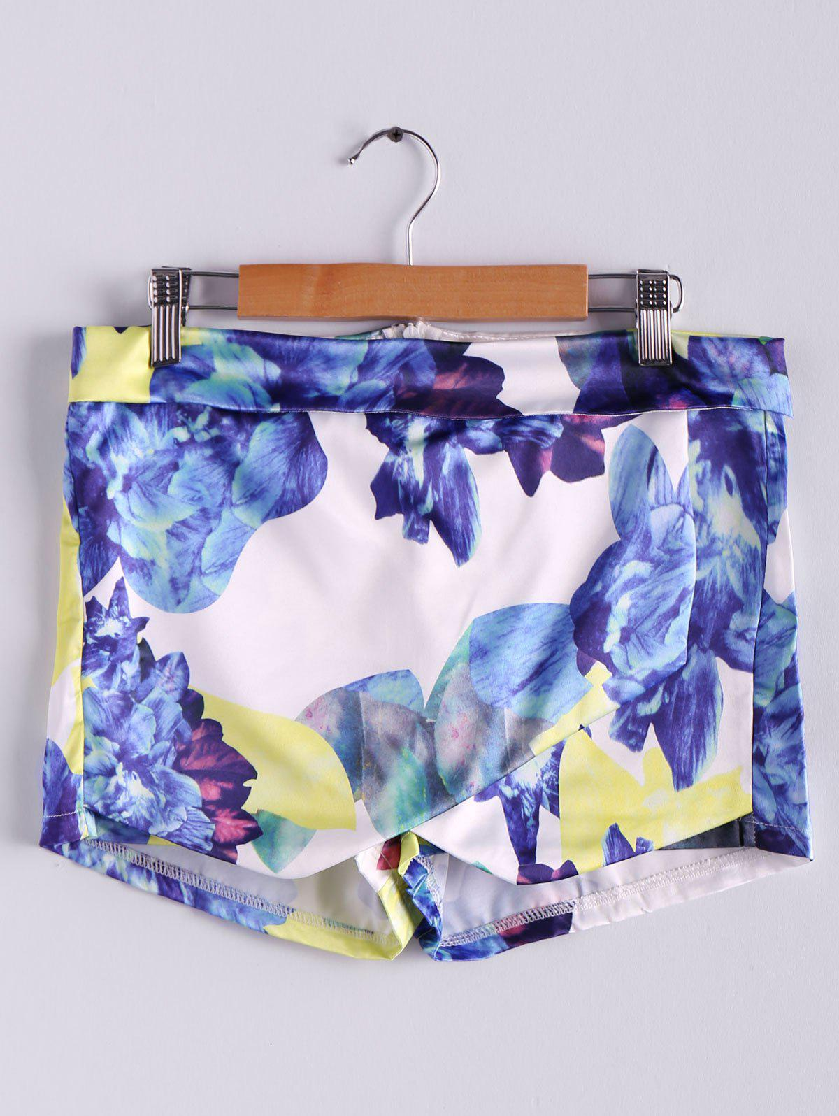 Trendy Stylish Mid-Waisted Zippered Bodycon Printed Culottes Shorts