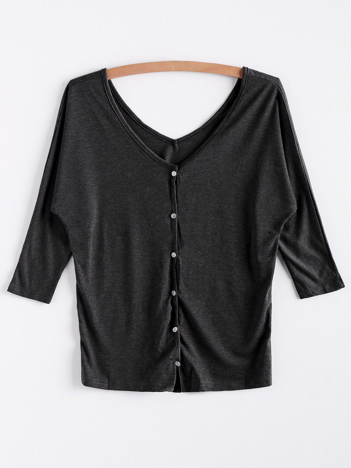 V-Neck Three Quarter Sleeve Gray Womens CardiganWOMEN<br><br>Size: ONE SIZE; Color: GRAY; Type: Cardigans; Material: Polyester; Sleeve Length: Three Quarter; Collar: V-Neck; Style: Casual; Pattern Type: Solid; Season: Winter; Weight: 0.230kg; Package Contents: 1 x Cardigan;